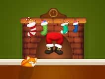 Santa Claus in the chimney Royalty Free Stock Photography
