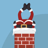 santa claus in chimney  isolated icon design Royalty Free Stock Photos