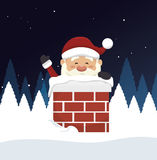 santa claus in chimney isolated icon design Royalty Free Stock Photography