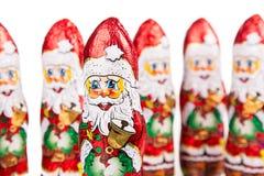 Santa Claus chocolate figures.  xmas decoration Royalty Free Stock Image
