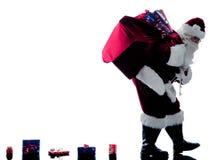 Santa Claus Chodząca sylwetka odizolowywająca obraz stock