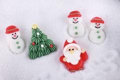 Cukrowy Santa Claus i bałwan Fotografia Stock