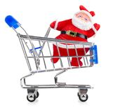 Santa Claus in chopping cart Stock Image