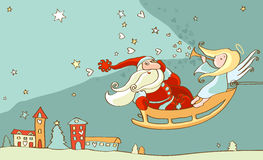 Santa Claus and christmas angel in sleigh. New year postcard Stock Images