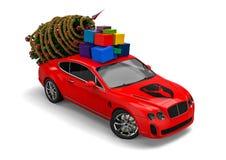 Santa Claus Christmas-auto Stock Afbeeldingen