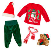 Santa claus christmas baby clothes isolated on white. Santa claus baby clothes isolated on white. Christmas child apparel set royalty free stock image