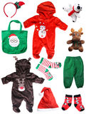 Santa claus christmas baby things isolated on white Stock Photo