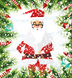 Santa Claus. Christmas background with fir branches, balloon and. Santa Claus. Christmas background with fir branches, balloon, snow and rocket. Vector Royalty Free Stock Image