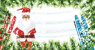Santa Claus. Christmas background with fir branches, snow and sk. Iing. Vector illustration. Card with Copy Space Stock Images