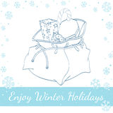 Santa Claus Christmas Bag With Gifts und Süßigkeit Lizenzfreies Stockbild