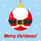 Santa Claus Christmas Ball With Text illustration stock