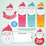 Santa Claus and Christmas banner set illustration. Sale badge Stock Image