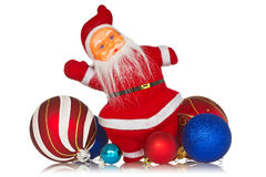 Santa claus with christmas baubles Royalty Free Stock Images