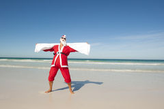 Santa Claus Christmas Beach Swim Royalty Free Stock Photos