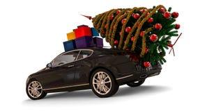 Santa Claus Christmas bil med julgranen Arkivfoto
