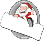 Santa claus with a christmas billboard Royalty Free Stock Photography