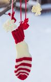 Santa Claus Christmas boot for gifts outside Stock Photo