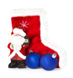 Santa Claus and Christmas boots isolated on white Royalty Free Stock Image
