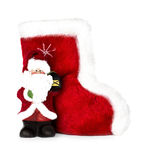 Santa Claus and Christmas boots isolated Stock Images