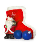 Santa Claus and Christmas boots isolated on white Royalty Free Stock Photos
