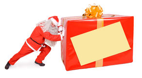Santa Claus with Christmas box. Isolated on white background Royalty Free Stock Photography