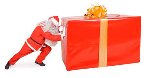 Santa Claus with Christmas box. Isolated on white background Stock Images