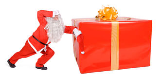 Santa Claus with Christmas box. Isolated on white background Royalty Free Stock Photos