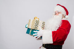 Santa Claus on christmas calling by phone. . Santa Claus by christmas calling by phone royalty free stock photo