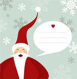 Santa Claus Christmas card. Santa Claus illustration with dialogue balloon on snowy background.  Vector file available Royalty Free Stock Photography