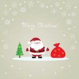 Santa Claus Christmas card. Christmas card with Santa Claus, bag and tree Royalty Free Stock Photos