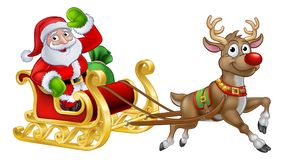 Santa Sleigh Christmas Cartoon Stock Illustration