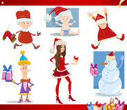 Santa claus and christmas cartoon set Stock Image
