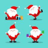 Santa Claus Christmas character set. Illustration of celebration card on blue background. Royalty Free Stock Image