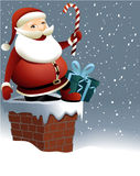 Santa Claus and Christmas chimney Royalty Free Stock Photos