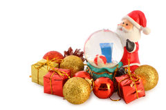 Santa claus with christmas collection isolated Stock Photos
