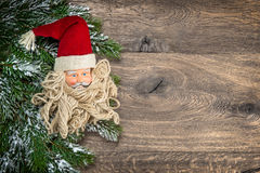 Santa Claus christmas decoration with pine tree branch Royalty Free Stock Image