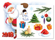 Santa Claus with Christmas decoration set Stock Photography