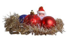 Santa Claus and Christmas decorations Stock Photos
