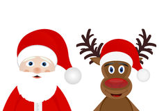 Santa Claus and Christmas deer Royalty Free Stock Image