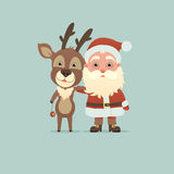 Santa Claus And Christmas Deer Royaltyfri Foto