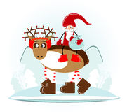 Santa claus on christmas deer in forest. Santa claus on christmas deer in winter forest Royalty Free Stock Photo