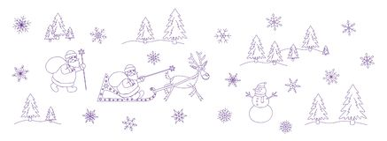 Santa Claus christmas doodle set royalty free illustration