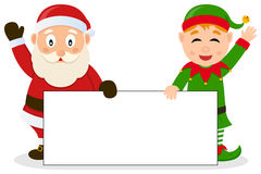 Santa Claus & Christmas Elf with Banner Royalty Free Stock Photos