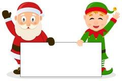 Santa Claus & Christmas Elf with Banner Royalty Free Stock Photos