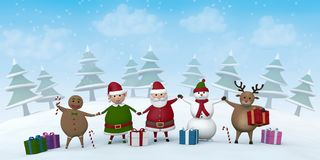 Christmas characters in a snowy winter landscape. Santa Claus, a Christmas Elf, a reindeer, a snowman and Gingerbread Man holding hands in a snowy winter Royalty Free Illustration