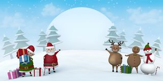 Christmas characters in a snowy winter landscape. Santa Claus, a Christmas Elf, a reindeer, a snowman and Gingerbread Man pointing at a blank sign in a snowy Royalty Free Stock Photography