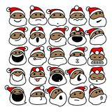 Santa Claus Christmas Emoticons preta Fotografia de Stock Royalty Free