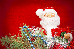 Santa Claus on Christmas Eve a red background Royalty Free Stock Image