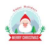 Santa Claus Christmas flat style logotype Stock Photography