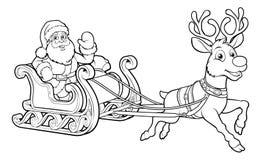 Santa Claus Christmas Fling Sleigh Sled Reindee Fotografie Stock Libere da Diritti